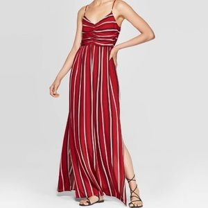 Red Striped Maxi Dress with Slits